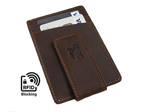 Kreditkartenetui mit Geldklammer aus echtem Leder RFID Kartenetui mit magnetischem Geldclip Kartenhalter für 6 Karten
