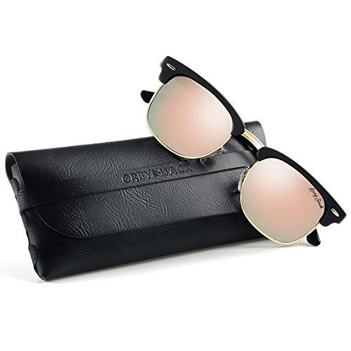 - GREY JACK Classic Polarized Half Frame Mirrored Sunglasses Fashion Eyeglasses for Men Women Matte Black Frame Pink Lens