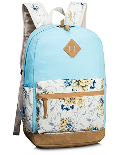 Leaper Casual Style Lightweight Canvas School Backpack Sky Blue
