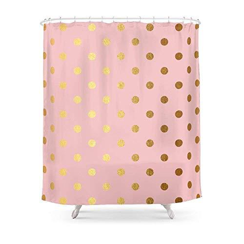 Bathroom Gold Polka Dots On Rosegold Backround - Luxury Pink Pattern Shower Curtain 72