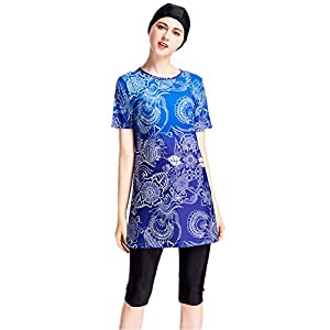 Women Muslim Swimwear Short Sleeve Print Islamic Modest Swimsuit Hijab Sun Protection Plus Size Beachwear