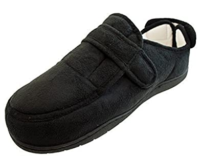 bf1057189f1 Mens Ladies Slippers E-EEE Wide Fit Touch Fastening Black Memory Foam  Insoles Size 5