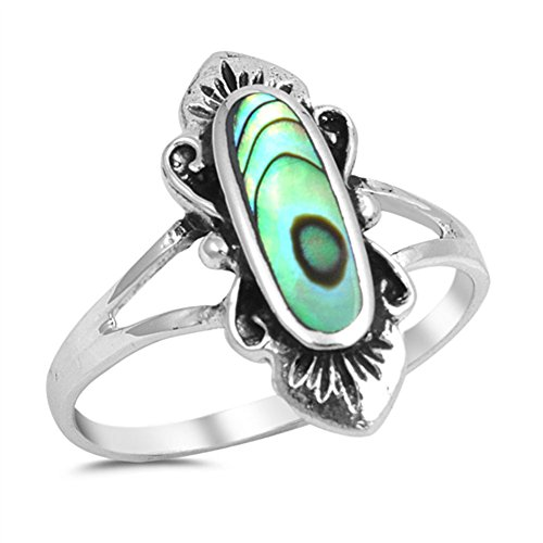 Simulated Abalone Long Oval Flower Ring .925 Sterling Silver Band Size 10 (RNG15442-10) (Long Ring Oval)