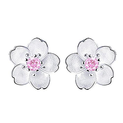 Demarkt Fashion Elegant Cherry Blossoms Lady Girls Cubic Zirconia Gem Ear Stud - Blossom Gem