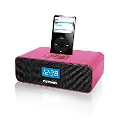 Ottavo OT3040-P Speaker Docking Station 30-Pin with Dual Alarm Clock FM Radio for iPhone, iPods and iPod Touch w/ remote control- Pink