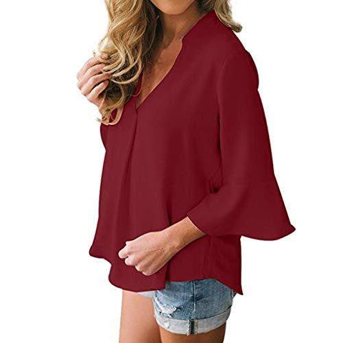 Wine V a donna shirt t lunghe Wanshop solido maniche donna da tops chiffon casuale collo allentato Red camicetta qZwEazxHw