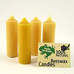 Set of 4 Hand Poured Solid Beeswax Candles in NATURAL - Each Candle Measures Approximately 1\