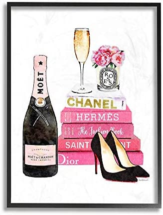 Stupell Industries Glam Pink Fashion Book Champagne Hells and Flowers Black Framed Wall Art