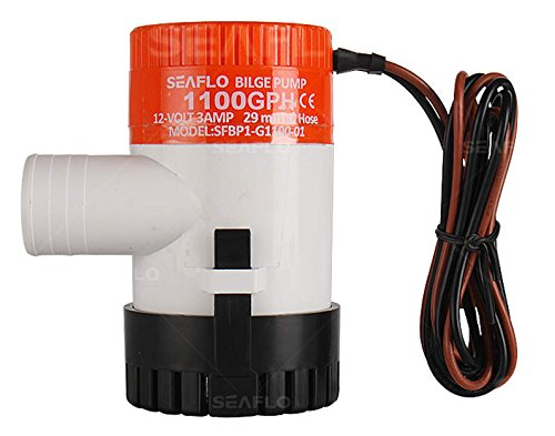 """Seaflo Brand New 1100GPH 12V 3A Electric Submersible Bilge Pump with 1.125"""" Outlet for Marine Fishing Boat Runabouts Cruisers Yachts Boat Shops Boaters primary"""