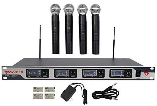 Rockville RWM4200VH VHF (4) Wireless HandHeld Microphones 4 Church Sound Systems ()