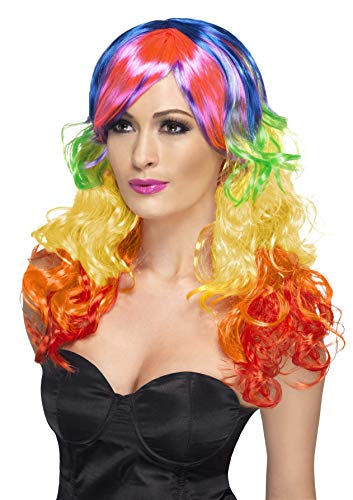 Smiffys Women's Long Rainbow Wig with Curls and Bangs, Multi-coloured Wig, One size, -
