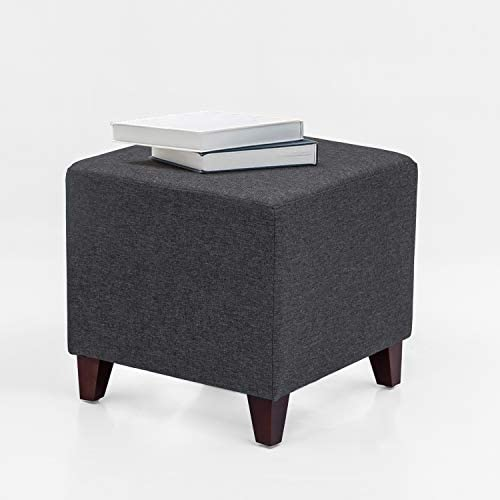 Adeco Simple British Style Cube Footstool, 16x16x16, Heather Gray Ottoman bench foot rest,OF0102