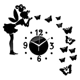 3D DIY Mirror Wall Stickers Clock Angel Butterfly Removable Number Clock Art Wall Decal Home Backdrop Decoration for Living Room Bedroom (Black)