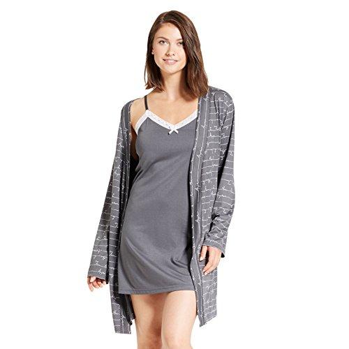 Kathy Ireland Womens 2 Piece Long Sleeve Belted Robe Nightgown Pajama Sleep Set Dark Shadow Small ()