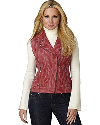 外出推進空虚Cripple CreekレディースDistressed Studded Leather Moto Vest – f3ll224 15 77