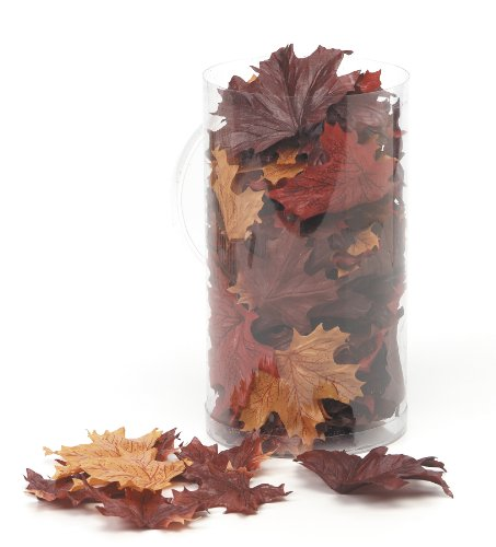 Darice 1620-99 100-Piece Maple Leaf Decor in a Canister, Brown