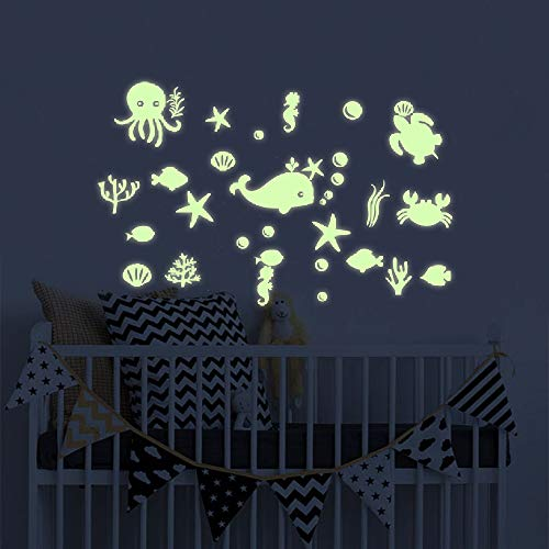 Sea Creatures Night Light - Glow in The Dark Under The Sea Fish Wall Stickers, Ocean Decal Decorations Peel and Wall Decals for Kids boy Girl Nursery Room Bedroom Decor