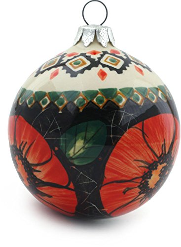 (Polish Pottery Ornament Christmas Ball 4-inch UNIKAT)