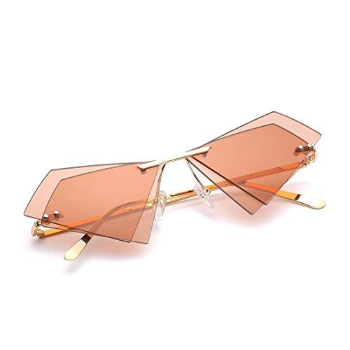 Lunettes pour de et Frame Frame Gold Femmes Color Sunglasses Tea Sakuldes Lens Monture sans Triangle Les Hommes Tea Lens Les Double Soleil Gold zqvYAtp