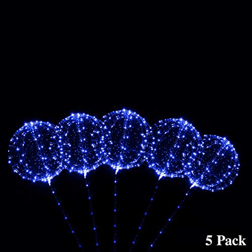ZancyBazz 18 Inch 5 PCS Led Light Up BoBo Balloon Blue Non-Flashing Lights, Fillable Light up Balloons with Helium, Great for Christmas Party, House Decorations,Amazing Party Decoration (Blue)]()