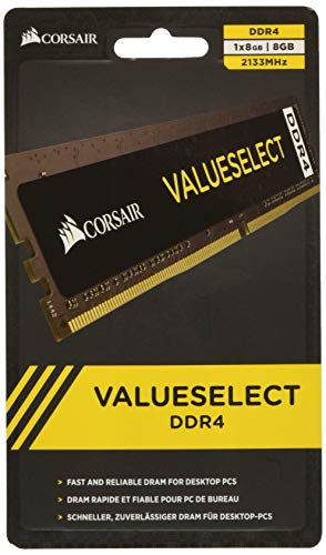 Corsair 8GB Kit (1x 8GB) 2133 MHz CL15 288-Pin DIMM DDR4 RAM Memory (CMV8GX4M1A2133C15)