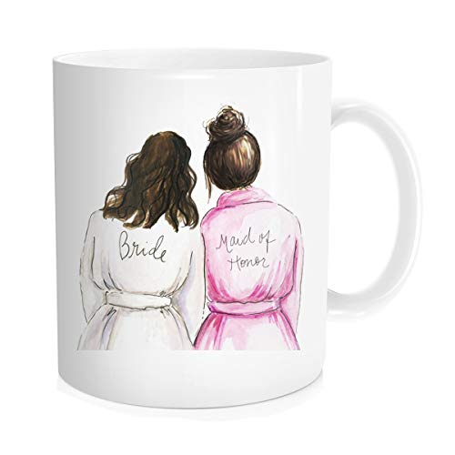 Waldeal Wedding Coffee Mug Bridal Shower Gift for Bride Tribe, Maid Of Honor Bestie, Best Friend Sister Bride, White Fine Bone Ceramic 11 OZ