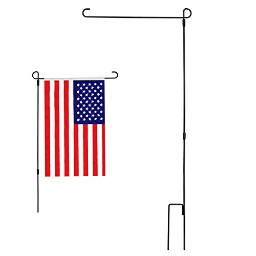 Yard Stand - Modchan Garden Flag Stand Flagpole, Black Wrought Iron Small Flag Stand For Yard Garden Flag Pole Flag Holder- 36.22