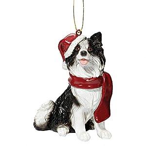 Design Toscano Christmas Xmas Border Collie Holiday Dog Ornaments, Full Color 1