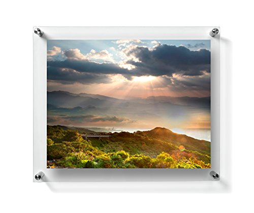 Rectangular floating frame made of acrylic, showcasing a beautiful view of nature.