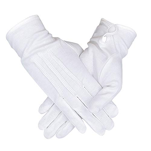(3 Pairs White Cotton Women Gloves with Stripes, for Formal Parade Marching Costume, Party Dress Gloves)