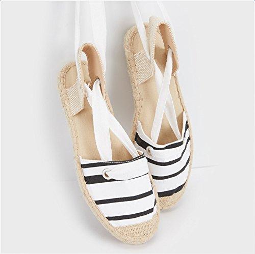 De Cáñamo Verano Zapatos Baotou De El De Un Pescadores Encajes Lona Sandalias De Damas Zapatos XINGMU xwIBqSP7H