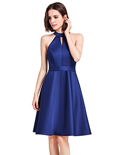 Ever-Pretty Womens Knee Length Halter Bridesmaid Dress 4 US Navy (Halter Knee Length Dress)