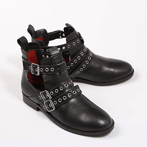 Women Women Women CLOUD Buckles Open amp; Booties with with with Black MUSSE Leather for Ox7ZzwzT