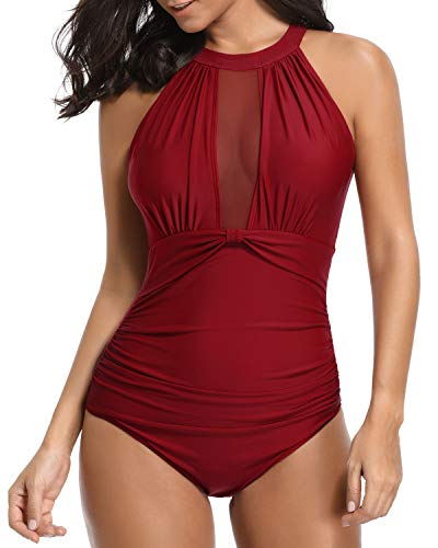 Stretch Mesh 2 Piece - Tempt Me Women One Piece Swimsuit High Neck V-Neckline Mesh Ruched Monokini Swimwear Red XS
