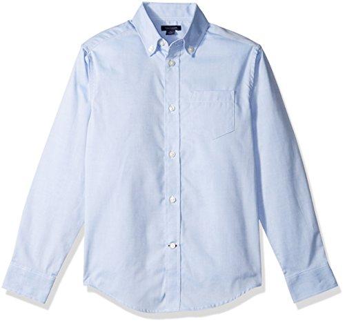 Boys Blue Oxford Shirt - Tommy Hilfiger Boys' Pinpoint Oxford Shirt, Medium Blue, 14