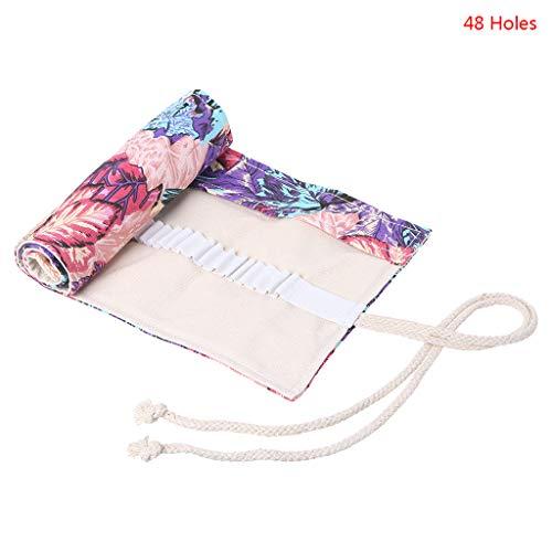 EHOO Maple Leaf Pencil Roll Wrap-Pencil Pouches Holder Canvas Pen Bag Pencil Case Cosmetic Makeup Bag Pouch(48 Slots)