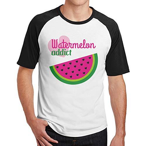 (SY COMPACT Men's Watermelon Addict Comfortable Crew Neck Short Sleeve Raglan Cotton T Shirts L Black)