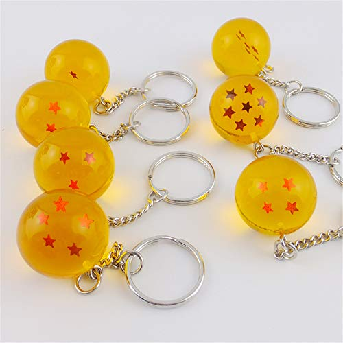 10pcs Anime Cartoons Dragon Ball Series Keyring Jewelry Five pointed Star Spherical Keychain Pendant Car Gifts Accessories,Yellow