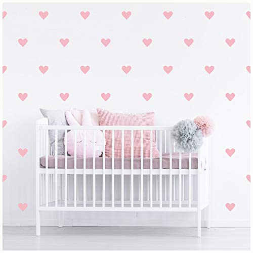 Hearts 4' Set of 39 Self Adhesive Vinyl Wall Pattern Decal Sticker Wall Art (Vintage Pink)