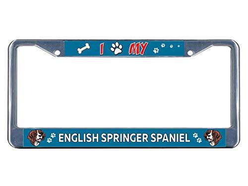 (English Springer Spaniel Dog I paw Chrome Metal License Plate Frame Tag Border Perfect for Men Women Car garadge Decor)