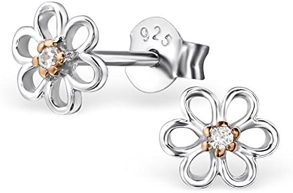 Zirkonia Blumen Design Ohrstecker klar 925er Sterling Silber Fassung HS1111