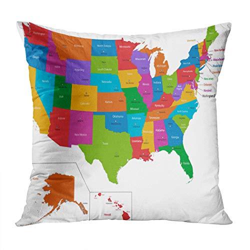 Peyqigo Throw Pillow Cover 18x18 Inch Colorful USA