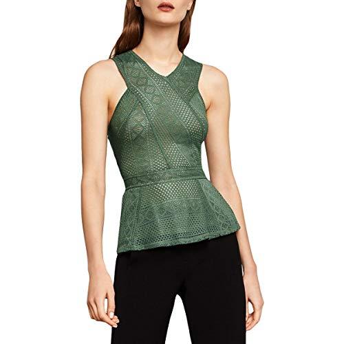 BCBG Max Azria Womens Hanne Geometric Lace Peplum Top Green XXS ()