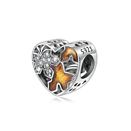 (Maple Leaf Charm 925 Sterling Silver Tree Charm Love Charm for Pandora Charm Bracelet)