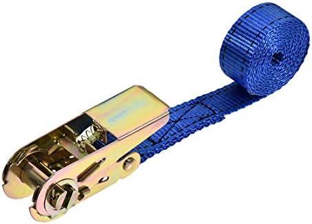 uxcell ラッシングストラップ 2 M x 25mm 800kg カーゴタイダウンストラップ ラチェットバックル付き ブルー