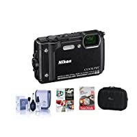 Nikon Coolpix W300 Point & Shoot Camera, Black - Bundle with 16GB SDHC Card, Camera Case, Cleaning Kit, Software Package