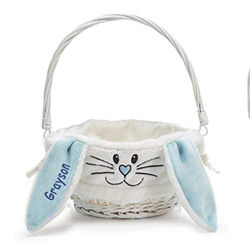 Personalized Bunny Face Easter Basket (Blue) ()