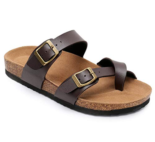 Royou Yiuoer Womens Flat Sandals Platform Espadrille Slide Slip On Footbed Summer Beach Leather Strap Buckle Flip Flop Brown US 8