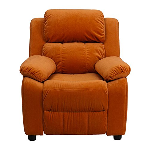 Offex OF-BT-7985-KID-MIC-ORG-GG Deluxe Heavily Padded Contemporary Microfiber Kids Recliner with Storage Arms, Orange