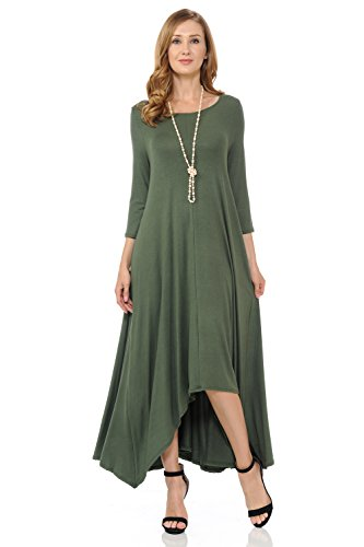 Pastel by Vivienne Women's Long Draped Handkerchief Dress With Pocket Small Olive
